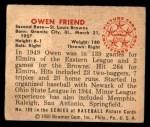 1950 Bowman #189 CPR Owen Friend  Back Thumbnail