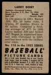 1952 Bowman #115  Larry Doby  Back Thumbnail