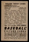 1952 Bowman #111  Hoot Evers  Back Thumbnail