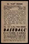 1952 Bowman #151  Al Rosen  Back Thumbnail