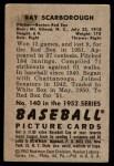 1952 Bowman #140  Ray Scarborough  Back Thumbnail