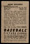 1952 Bowman #141  Hank Edwards  Back Thumbnail