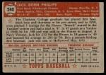 1952 Topps #240  Jack Phillips  Back Thumbnail