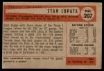 1954 Bowman #207  Stan Lopata  Back Thumbnail