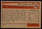 1954 Bowman #218 xINK Preacher Roe  Back Thumbnail