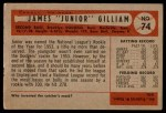 1954 Bowman #74  Jim Gilliam  Back Thumbnail