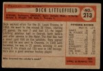 1954 Bowman #213  Dick Littlefield  Back Thumbnail