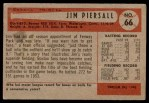1954 Bowman #66 JIM Jimmy Piersall  Back Thumbnail