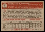 1952 Topps #16 RED Gene Hermanski  Back Thumbnail