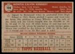 1952 Topps #124  Monte Kennedy  Back Thumbnail