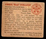 1950 Bowman #116  Red Stallcup  Back Thumbnail