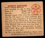 1950 Bowman #183 CPR Mickey Haefner  Back Thumbnail