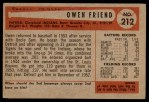 1954 Bowman #212 2B Owen Friend  Back Thumbnail