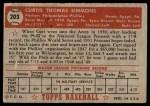 1952 Topps #203  Curt Simmons  Back Thumbnail