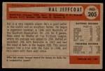 1954 Bowman #205  Hal Jeffcoat  Back Thumbnail