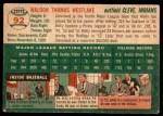 1954 Topps #92  Wally Westlake  Back Thumbnail