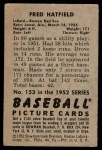 1952 Bowman #153  Fred Hatfield  Back Thumbnail