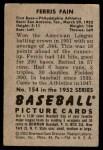 1952 Bowman #154  Ferris Fain  Back Thumbnail