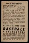 1952 Bowman #205  Walt Masterson  Back Thumbnail