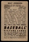 1952 Bowman #122  Billy Johnson  Back Thumbnail