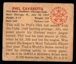 1950 Bowman #195 CPR Phil Cavarretta  Back Thumbnail