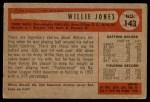 1954 Bowman #143  Willie Jones  Back Thumbnail