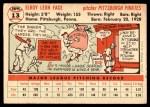 1956 Topps #13  Roy Face  Back Thumbnail