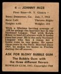 1948 Bowman #4  Johnny Mize  Back Thumbnail