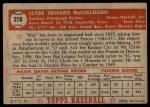 1952 Topps #218  Clyde McCullough  Back Thumbnail