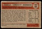 1954 Bowman #31  Smoky Burgess  Back Thumbnail