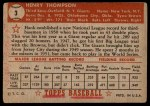 1952 Topps #3 RED Hank Thompson  Back Thumbnail