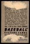 1952 Bowman #118  Ray Murray  Back Thumbnail