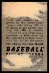 1952 Bowman #169  Walt Dropo  Back Thumbnail
