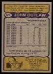 1979 Topps #176  John Outlaw  Back Thumbnail