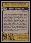 1979 Topps #476  Terry Hermeling  Back Thumbnail