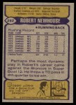 1979 Topps #252  Robert Newhouse  Back Thumbnail