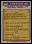 1979 Topps #168   Super Bowl XIII Back Thumbnail