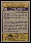 1979 Topps #34  Pete Johnson  Back Thumbnail