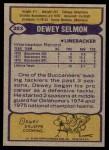 1979 Topps #303  Dewey Selmon  Back Thumbnail