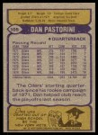 1979 Topps #105  Dan Pastorini  Back Thumbnail