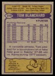 1979 Topps #219  Tom Blanchard  Back Thumbnail