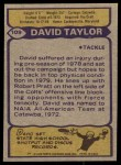 1979 Topps #109  David Taylor  Back Thumbnail