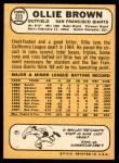 1968 Topps #223  Ollie Brown  Back Thumbnail