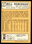 1968 Topps #337  Bill Robinson  Back Thumbnail