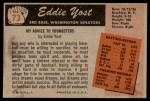 1955 Bowman #73  Eddie Yost  Back Thumbnail