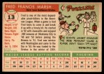 1955 Topps #13  Fred Marsh  Back Thumbnail