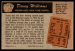 1955 Bowman #138  Davey Williams  Back Thumbnail
