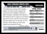 2005 Topps #644   Chicago White Sox Team Back Thumbnail