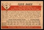 1953 Bowman B&W #49  Floyd Baker  Back Thumbnail