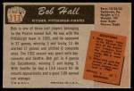 1955 Bowman #113  Bob Hall  Back Thumbnail